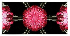 Beach Towel featuring the digital art Hollyhock Pinwheel by Aliceann Carlton