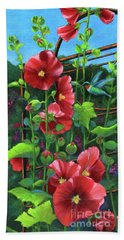 Hollyhocks And Hummingbird Beach Towel