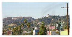 Hollywood Sign Above Sunset Blvd. Beach Towel