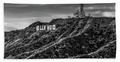 Hollywood Sign - Black And White Beach Towel