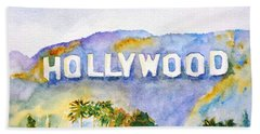 Hollywood Sign California Beach Towel
