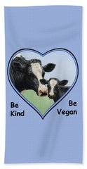 Holstein Cow And Calf Blue Heart Vegan Beach Towel by Crista Forest