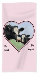 Holstein Cow And Calf Pink Heart Vegan Beach Towel by Crista Forest