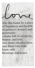 Home Blessing Rustic- Art By Linda Woods Beach Towel