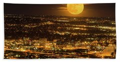 Home Sweet Hometown Bathed In The Glow Of The Super Moon  Beach Towel by Bijan Pirnia