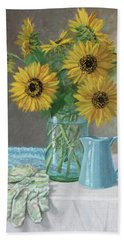 Homegrown - Sunflowers In A Mason Jar With Gardening Gloves And Blue Cream Pitcher Beach Sheet