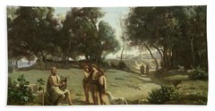Homer And The Shepherds In A Landscape Beach Towel