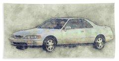 Honda Acura Legend 1 - Executive Car - 1985 - Automotive Art - Car Posters Beach Towel