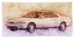 Honda Acura Legend 2 - Executive Car - 1985 - Automotive Art - Car Posters Beach Towel