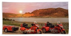 Beach Towel featuring the photograph Honda Goldwing Bike Trike And Trailer by Patti Deters