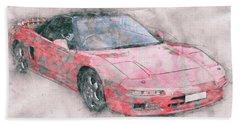 Honda Nsx 1 - Acura Nsx - Sports Car - Automotive Art - Car Posters Beach Towel