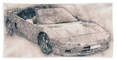 Honda Nsx - Acura Nsx - Sports Car - Automotive Art - Car Posters Beach Towel