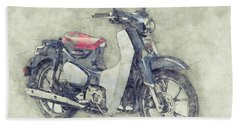 Honda Super Cub 1 - Motor Scooters - 1958 - Motorcycle Poster - Automotive Art Beach Towel