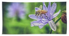 Honey Bee And Flower Beach Towel
