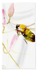 Honey Bee And Pink Flower Beach Towel