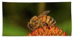 Honey Bee On Flower Three Beach Towel