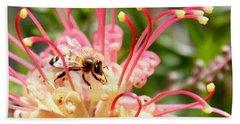 Honey Bee On Grevillea  Beach Towel