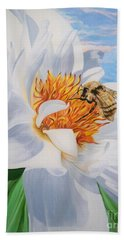 Honey Bee On White Flower Beach Towel by Sigrid Tune
