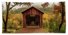 Beach Towel featuring the photograph Honey Run Covered Bridge In Autumn by James Eddy