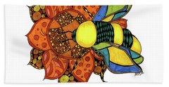 Honeybee On A Flower Beach Towel