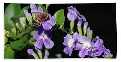 Beach Towel featuring the photograph Honeybee On Golden Dewdrop II by Richard Rizzo