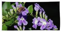 Honeybee On Golden Dewdrop II Beach Sheet by Richard Rizzo
