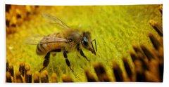 Beach Sheet featuring the photograph Honeybee On Sunflower by Chris Berry