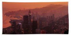 Hong Kong City View From Victoria Peak Beach Sheet