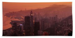 Hong Kong City View From Victoria Peak Beach Sheet