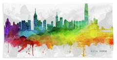 Hong Kong Skyline Mmr-chhk05 Beach Sheet by Aged Pixel