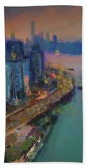 Hong Kong Skyline Painting Beach Towel