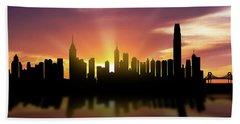 Hong Kong Skyline Sunset Chhk22 Beach Sheet by Aged Pixel