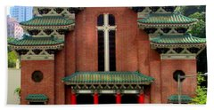 Beach Towel featuring the photograph Hong Kong Temple by Randall Weidner
