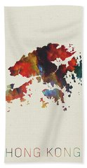 Hong Kong Watercolor Map Beach Towel
