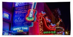 Honky Tonk Broadway Beach Towel