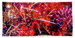 Beach Towel featuring the photograph Honolulu Fireworks by D Davila