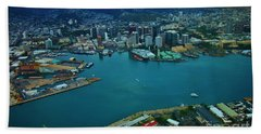 Honolulu Waterfront At Dawn Beach Towel