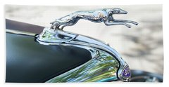 Beach Towel featuring the photograph Hood Ornament Ford by Theresa Tahara