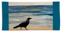 Hooded Crow At The Black Sea By Dora Hathazi Mendes Beach Towel