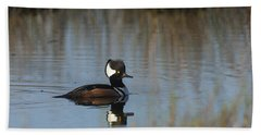 Hooded Merganser In The Early Morning Light Beach Sheet