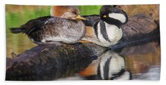 Hooded Merganser Pair Beach Towel