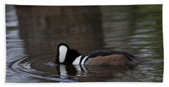 Hooded Merganser Preparing To Dive Beach Sheet