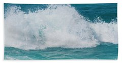 Hookipa Splash Waves Beach Break Shore Break Pacific Ocean Maui  Beach Towel by Sharon Mau