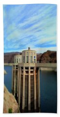 Hoover Dam Intake Towers No. 1 Beach Towel by Sandy Taylor