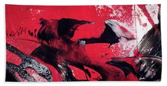 Hope - Red Black And White Abstract Art Painting Beach Towel