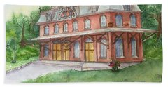 Beach Towel featuring the painting Hopewell Nj Train Station by Lucia Grilletto