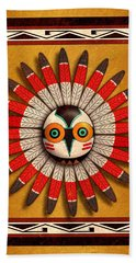 Beach Towel featuring the digital art Hopi Owl Mask by John Wills