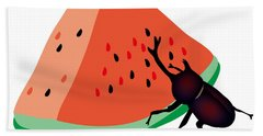Horn Beetle Is Eating A Piece Of Red Watermelon Beach Towel