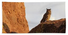 Horned Owl Perched At Sunset Beach Towel