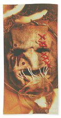 Horror Scarecrow Portrait Beach Towel